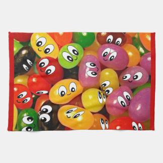 Cute Jelly Bean Smileys Tea Towel