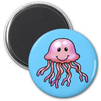 Cute jellyfish 6 cm round magnet