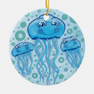 Cute Jellyfish and Bubbles ornament