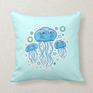 Cute Jellyfish And Bubbles pillow