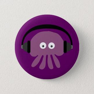 Cute Jellyfish & Headphones Customizable Purple 6 Cm Round Badge