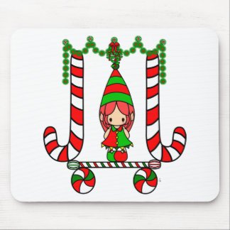 Cute Jester Christmas Elf Girl - Candy Canes Mousepads