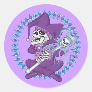 Cute Jester Skull Round Stickers
