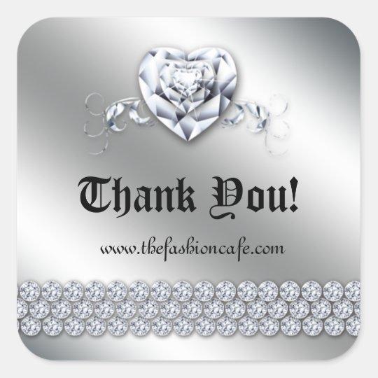 Cute Jewellery Heart Valentine's Day Silver Shiny Square Sticker
