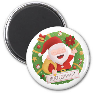 Cute Jolly Santa Claus Xmas Wreath Magnet