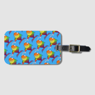 Cute Joyful Goldfish in Sea, Light Blue Luggage Tag