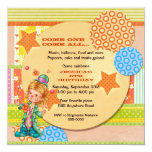 Cute Juggling Circus Clown Birthday 13 Cm X 13 Cm Square Invitation Card