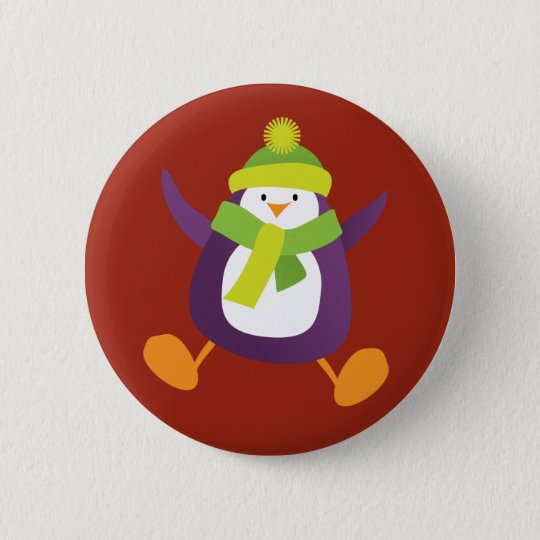 Cute Jumping Purple Penguin Button / Pin Badge