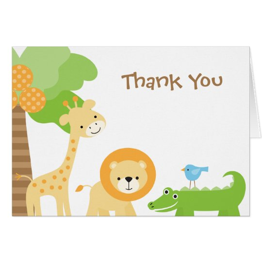 Cute Jungle Animal Thank You Cards