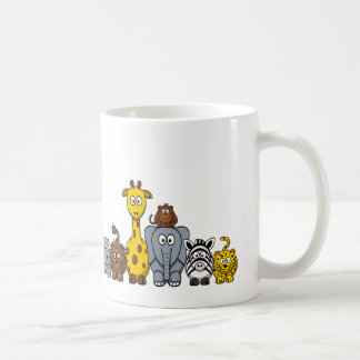 CUTE JUNGLE ANIMALS ADD YOUR TEXT BASIC WHITE MUG