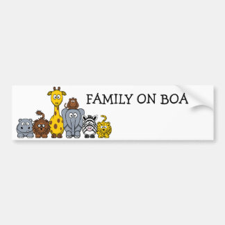CUTE JUNGLE ANIMALS ADD YOUR TEXT BUMPER STICKER