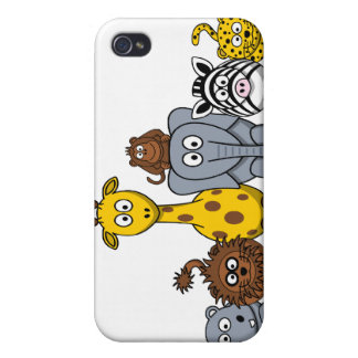 CUTE JUNGLE ANIMALS ADD YOUR TEXT CASES FOR iPhone 4
