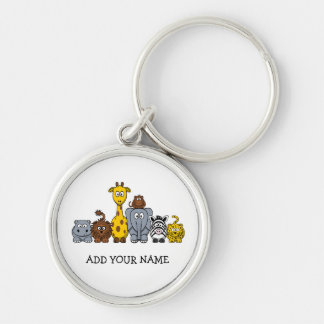 CUTE JUNGLE ANIMALS ADD YOUR TEXT Silver-Colored ROUND KEY RING