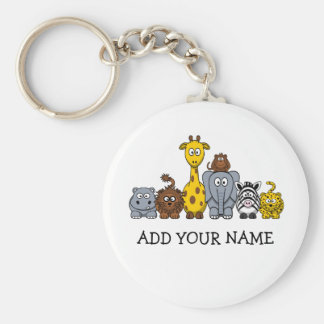 CUTE JUNGLE ANIMALS ADD YOUR TEXT KEY CHAIN