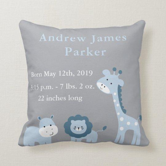 cute jungle animals baby boy announcement pillow zazzle co uk