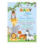 Cute Jungle Animals Boy Baby Shower Invitation Custom Invitation