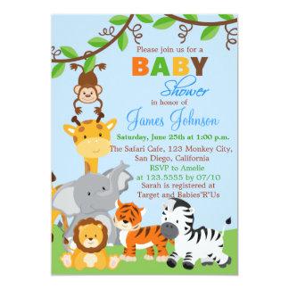 Cute Jungle Animals Boy Baby Shower Invitation