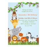 Cute Jungle Animals Boy Birthday Party Invitation