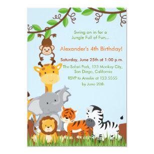Jungle party invitations announcements zazzle cute jungle animals boy birthday party invitation stopboris Image collections