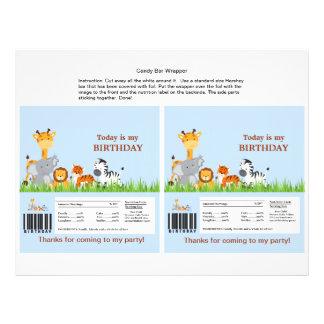 Cute Jungle Animals Boy Candy Bar Wrapper 21.5 Cm X 28 Cm Flyer