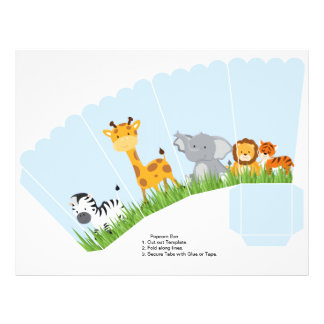 Cute Jungle Animals Boy Scalloped Popcorn Box 21.5 Cm X 28 Cm Flyer