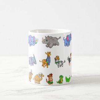 Cute Jungle Animals Elephant Hippo Giraffe Zebra Basic White Mug