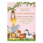 Cute Jungle Animals Girl Birthday Party Invitation