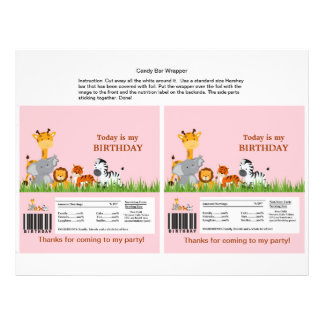 Cute Jungle Animals Girl Candy Bar Wrapper