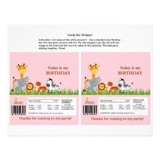 Cute Jungle Animals Girl Candy Bar Wrapper 21.5 Cm X 28 Cm Flyer
