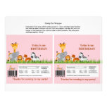 Cute Jungle Animals Girl Candy Bar Wrapper Full Color Flyer