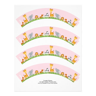 Cute Jungle Animals Girl Plain Cupcake Wrapper 21.5 Cm X 28 Cm Flyer