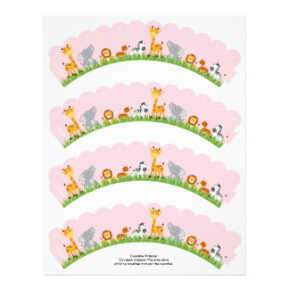 Cute Jungle Animals Girl Scalloped Cupcake Wrapper