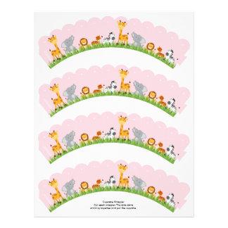 Cute Jungle Animals Girl Scalloped Cupcake Wrapper 21.5 Cm X 28 Cm Flyer