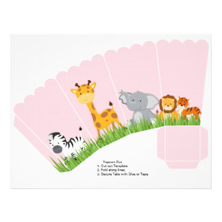 Cute Jungle Animals Girl Scalloped Popcorn Box 21.5 Cm X 28 Cm Flyer