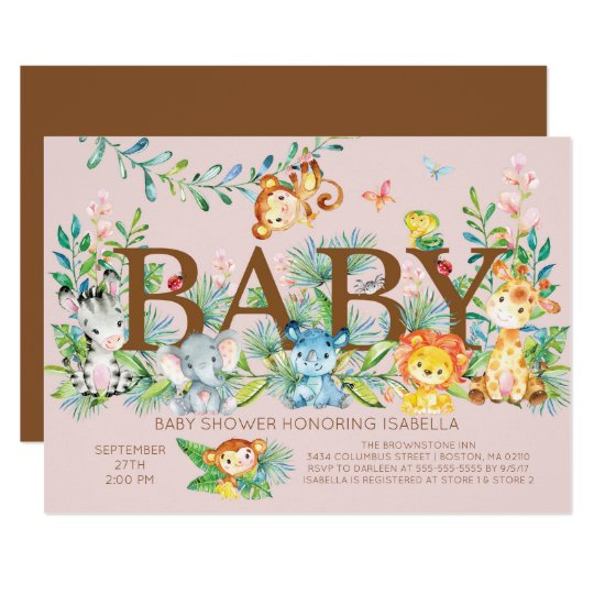 Cute Jungle Animals Girls Baby shower Invitation
