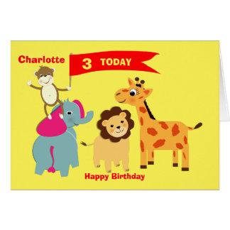 Cute Jungle Animals Happy Birthday Personalized Card