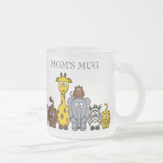 "CUTE JUNGLE ANIMALS ""MOM'S MUG"" FROSTED GLASS COFFEE MUG"