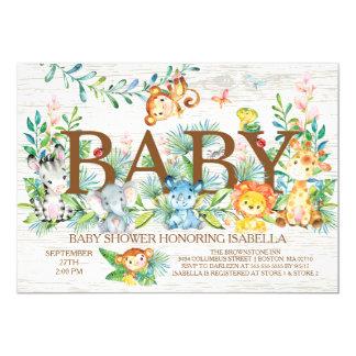 Cute Jungle Animals Neutral Baby shower Invitation