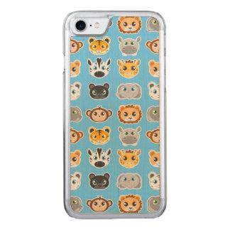Cute Jungle Animals Pattern Blue Carved iPhone 8/7 Case