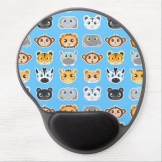Cute Jungle Animals Pattern Blue Gel Mouse Pad