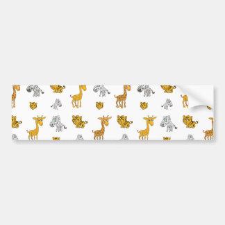 Cute Jungle Animals Pattern Bumper Sticker