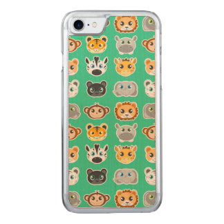 Cute Jungle Animals Pattern Green Carved iPhone 8/7 Case