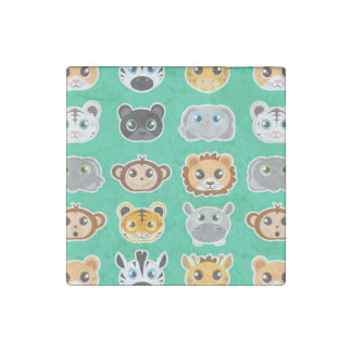 Cute Jungle Animals Pattern Green Stone Magnet