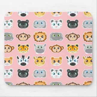 Cute Jungle Animals Pattern Pink Mouse Pad