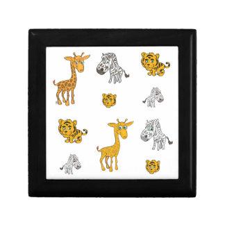 Cute Jungle Animals Pattern Small Square Gift Box