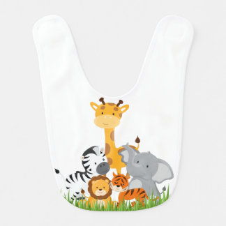 Cute Jungle Baby Animal Baby Bib