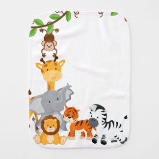 Cute Jungle Baby Animal Burp Cloth