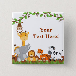Cute Jungle Baby Animals Button
