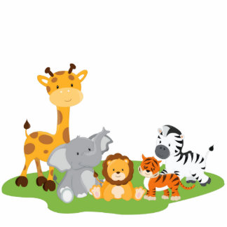 Cute Jungle Baby Animals Photo Sculpture