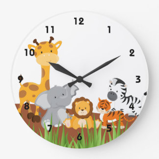 Cute Jungle Baby Animals Wall Clocks